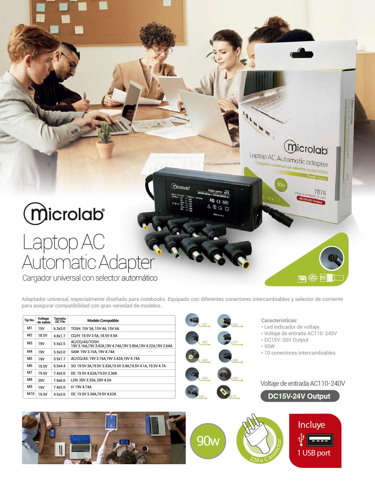 Cargador Universal Mlab 90W DC15V-20V Output para Notebook 1 150MIC07876